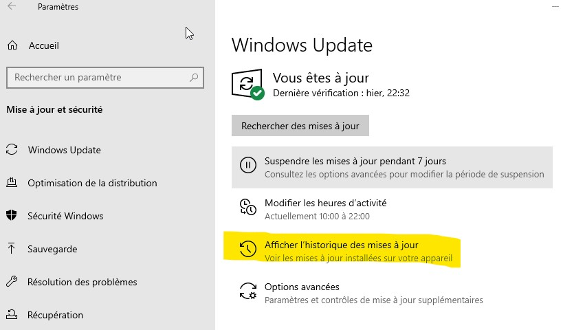 historique-maj-windows10