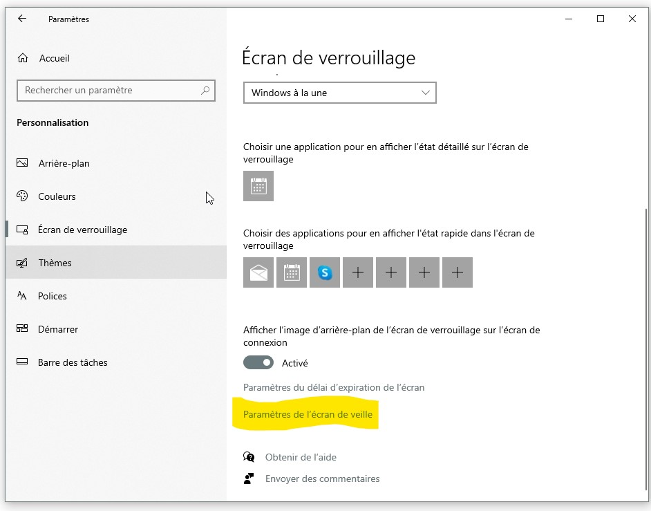 acces-ecran-veille-windows10