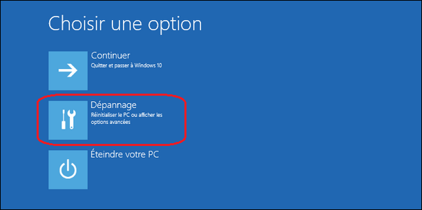 options-depannage-windows10