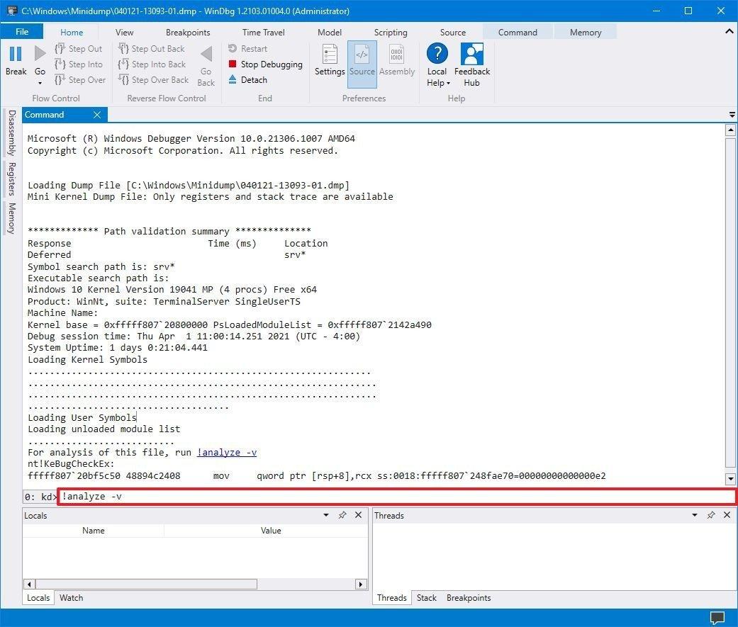 analyze-dump-file-windows10